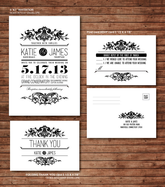 This Victorian-style wedding set from Etsy has an RSVP postcard that's as classy and formal as the design.