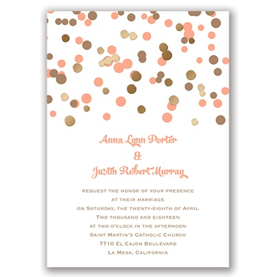 Gold foil & pink polka dot wedding invitations by Invitations by Dawn