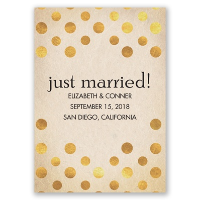 Gold foil polka dot wedding announcements by Invitations by Dawn
