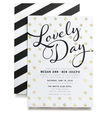 Gold foil stamped dots modern wedding invitations by Magnolia Press