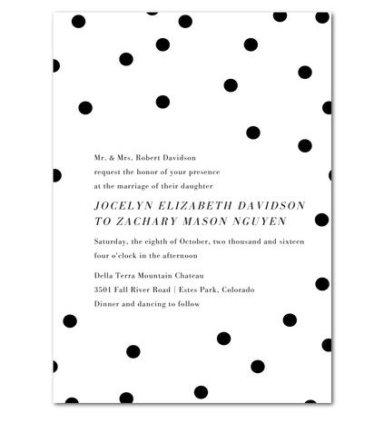 Simple black & white polka dot wedding invitations