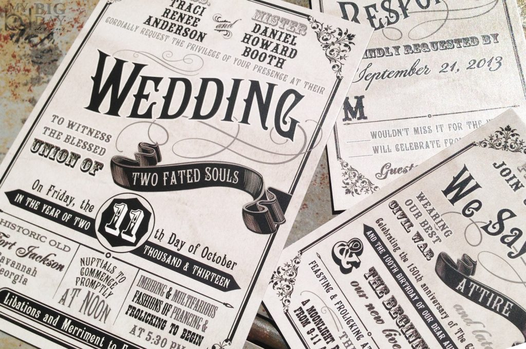 Civil Union Old-Fashioned Wedding Invitation Set from Etsy