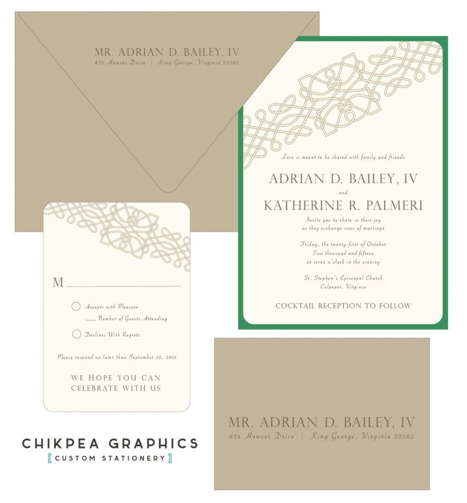 I love the spare, simple lines of this celtic knot wedding invitation in green and pale cream, from Etsy.
