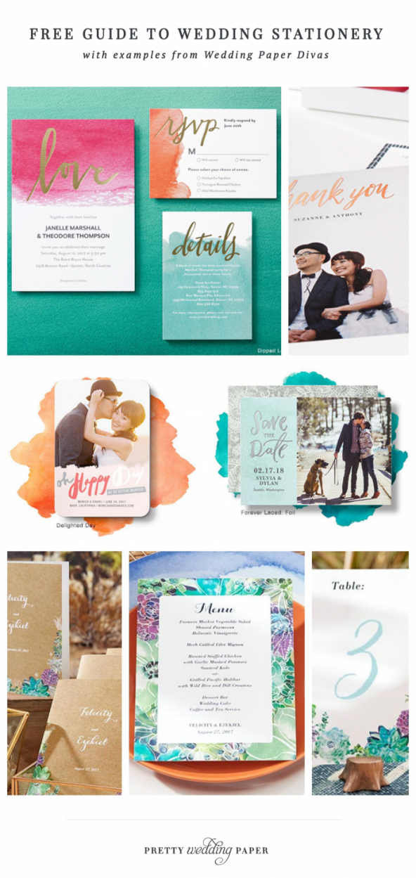 Free Guide to Wedding Stationery (showing examples of wedding invitations, save the dates and day-of details from Wedding Paper Divas).