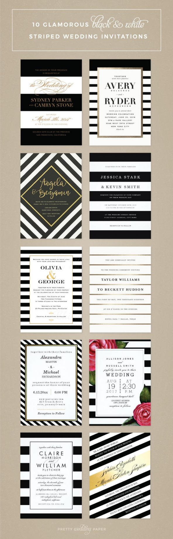 Glamorous black and white striped wedding invitations featuring designs from Minted, Wedding Paper Divas, Etsy and Zazzle. Black and gold invitations, floral designs, and simple black and white stripes are included.