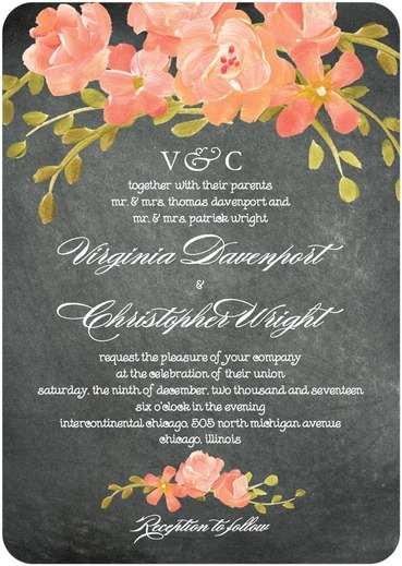 Chalkboard Floral Wedding Invitations by  Coloring Cricket for Wedding Paper Divas