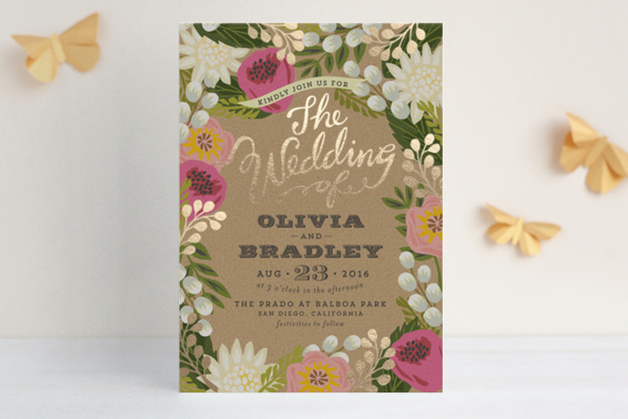 Floral Canopy Foil-Pressed Wedding Invitations by griffinbell paper co for Minted
