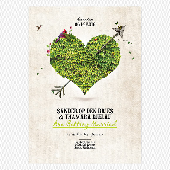 """Heartchery"" Wedding Invitations by Sander Op Den Dries for Love vs Design"