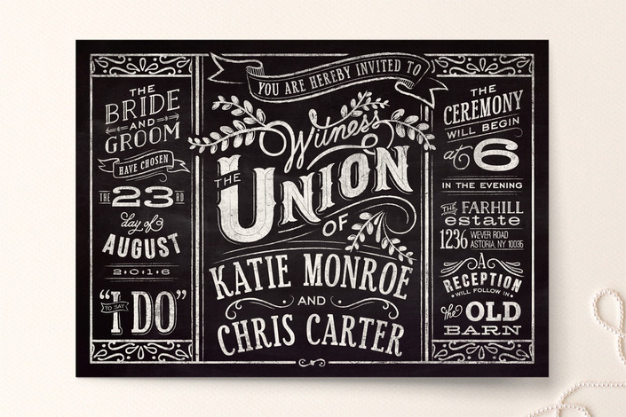 Slated Forever Poster-style Wedding Invitations by GeekInk Design for Minted