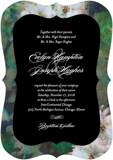 This lush, botanical wedding invitation has an aura of majestic mystery to it. From Wedding Paper Divas.