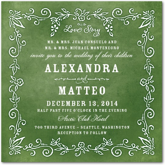 Whimsical botanical swirls frame the wedding invitation wording in this vibrant green invite from Wedding Paper Divas.