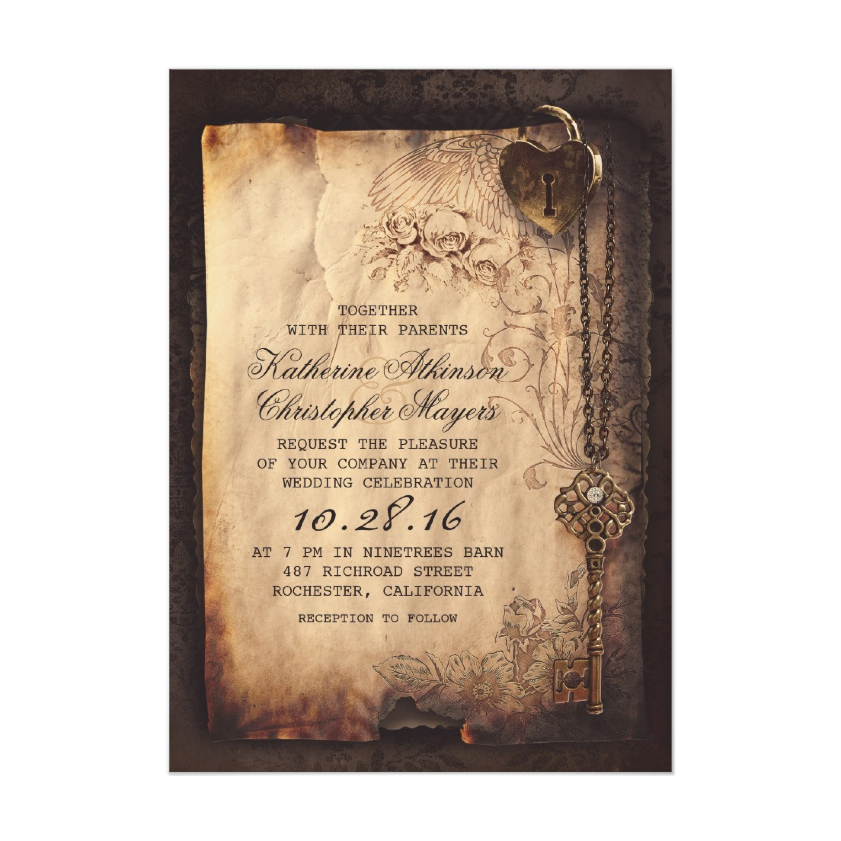 Skeleton Key Vintage Wedding Invitations from Zazzle