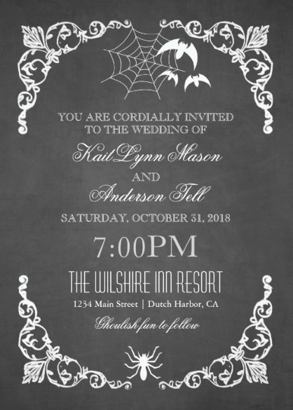 Chalkboard Bats & Spiderweb Halloween Wedding Invitations from Zazzle
