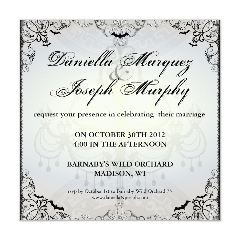 Fancy Gothic Bats Halloween Wedding Invites from Zazzle