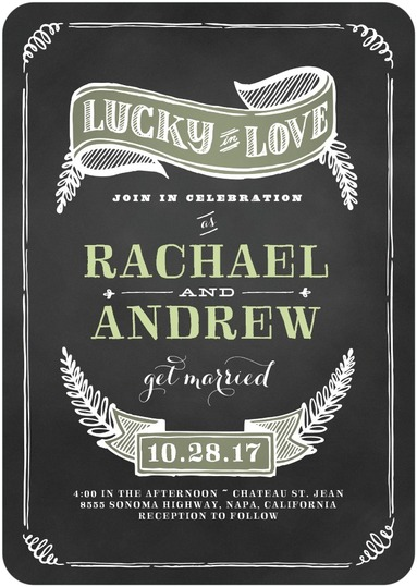 This chalkboard wedding invitation cutely shouts to the world what all engaged couples feel - how lucky they are to be in love! A fun and modern wedding invitation from Wedding Paper Divas.