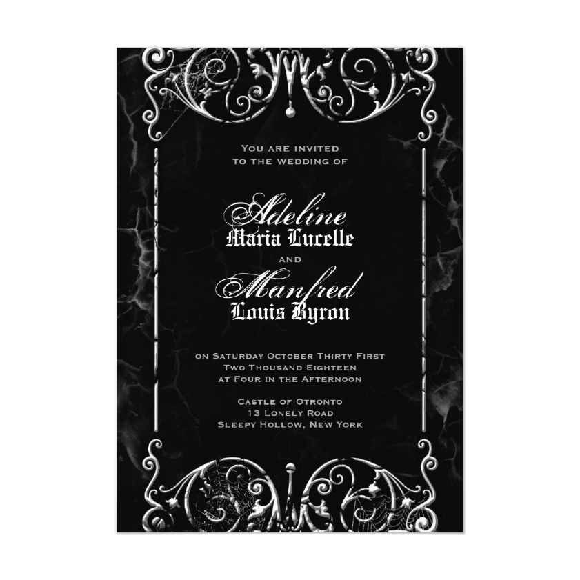 Gothic Victorian Black & White Halloween Wedding Invitation from Zazzle