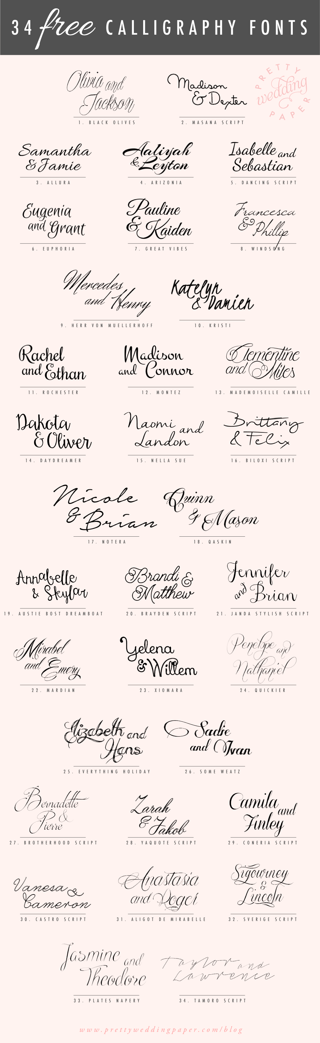 34 Free Calligraphy Script Fonts For