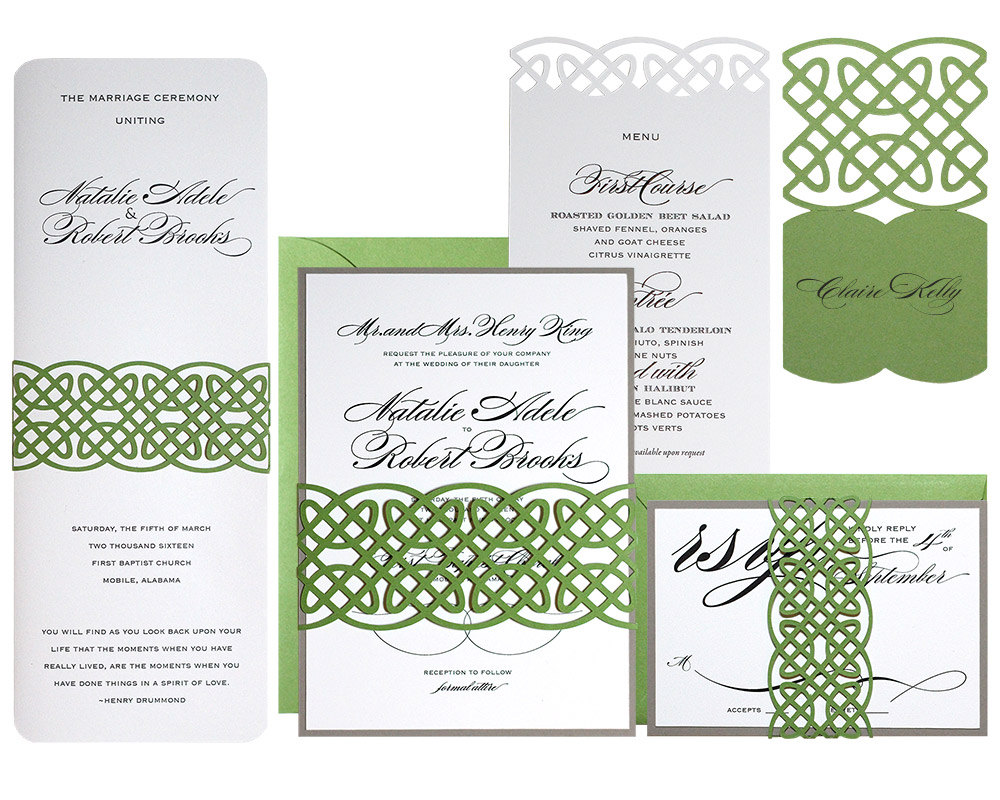 This super fancy and elaborate wedding invitation set features celtic knot scrollwork binding the pieces together. From Etsy.