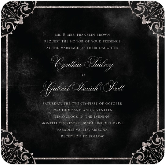 Elegant Vows Black Wedding Invitation from Wedding Paper Divas