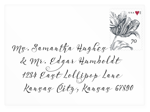 Wedding invite envelope mock-up with Acustica calligraphic font (link to download).