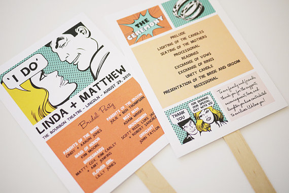 Retro Comic Wedding Program Printable from Etsy