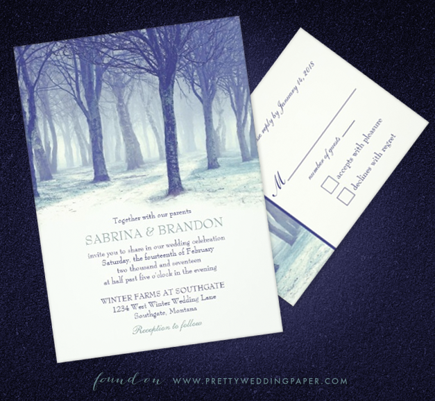 Snowy winter forest wedding invitations by Sandy of The Paper Mill.