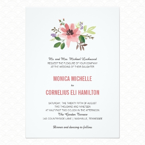 Cute watercolor floral wedding invitations