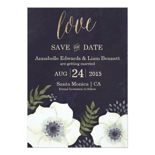 gorgeous anemone flower save the date cards in navy blue, gold and white.