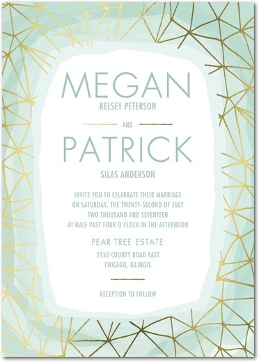 Natural Luxe Organix Geometric Wedding Invitations in Mint and Gold.