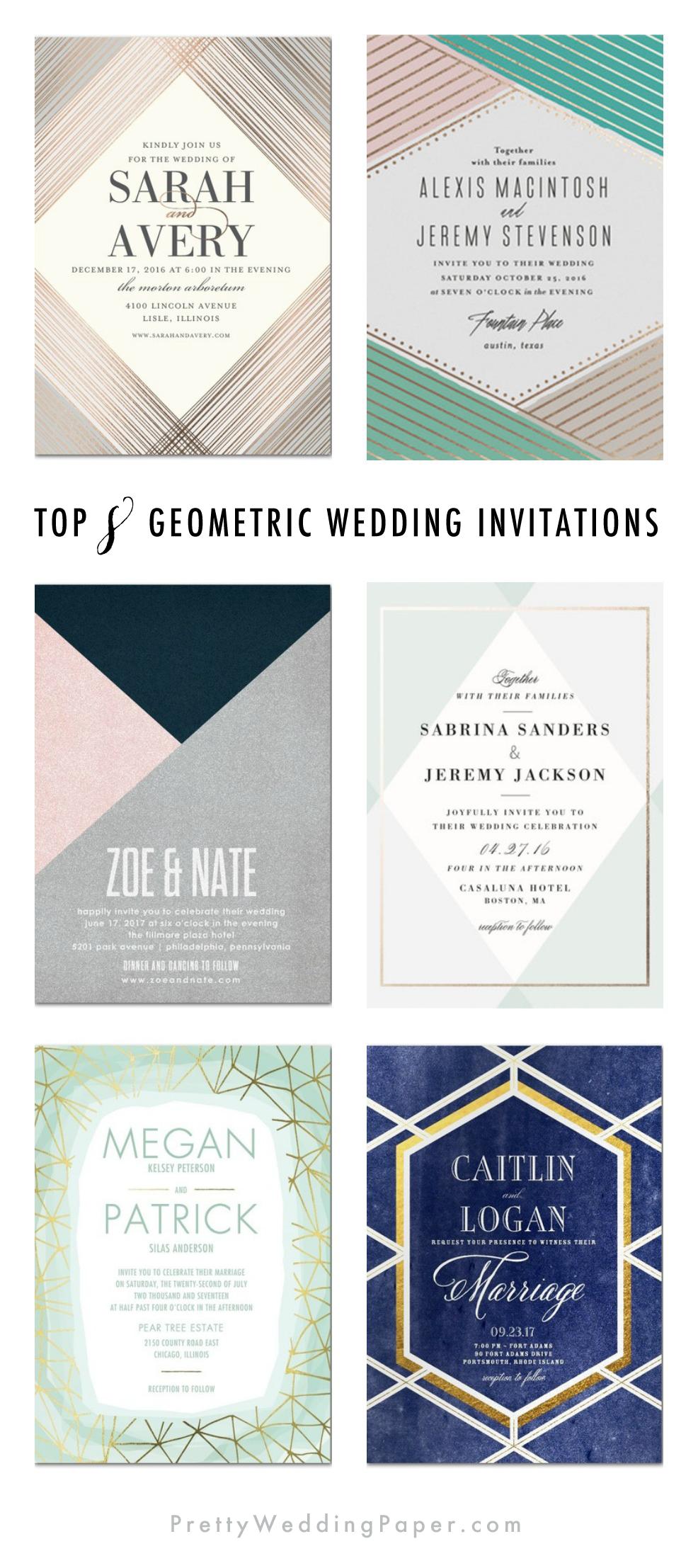 Top Eight Geometric Wedding Invitations. ♥ picked by prettyweddingpaper.com