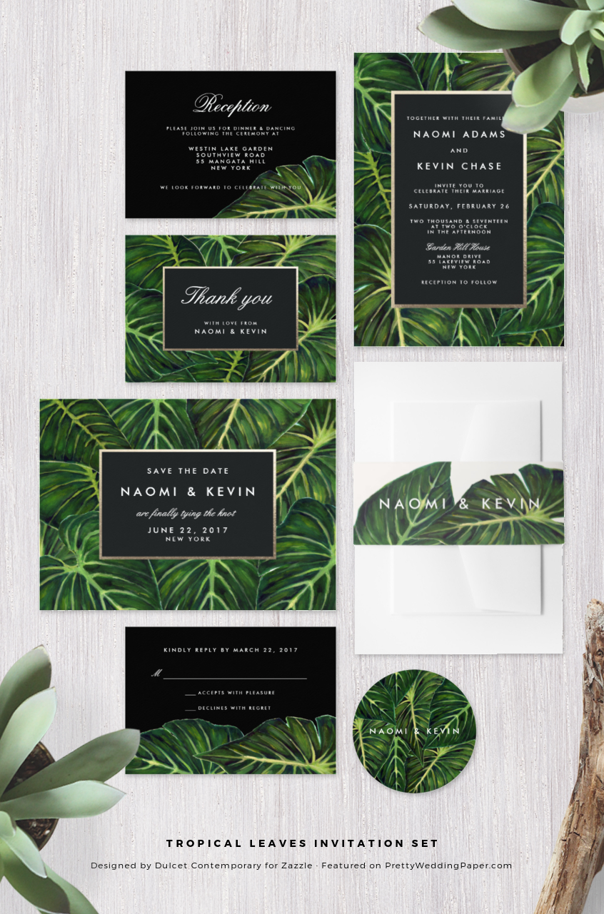 Palm frond tropical wedding invitations and collection.
