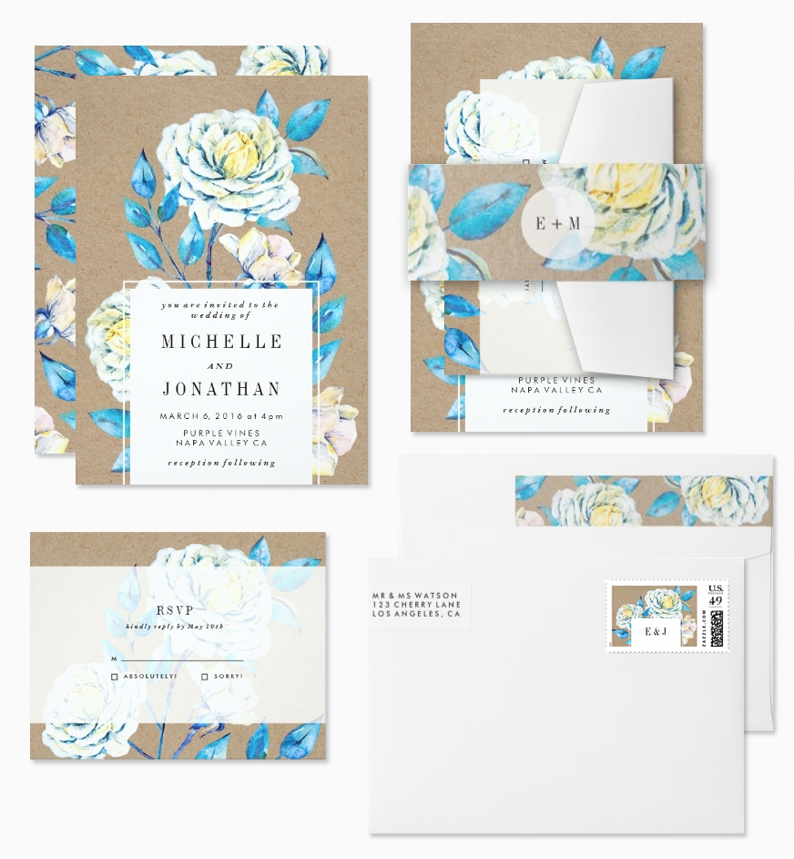 Shabby Chic Kraft & Blue Roses Floral Wedding Invitations designed by Phrosne Ras, with matching RSVP, envelopes, belly band and stamps.