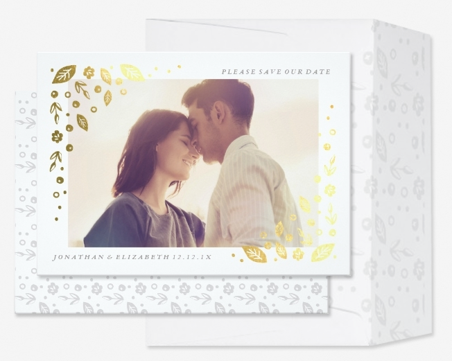 Shiny Gold Modern Floral Photo Save the Date Cards with matching envelopes.