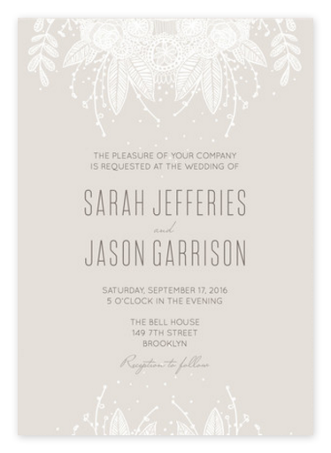 Delicate Grey Lace Wedding Invitations from Minted