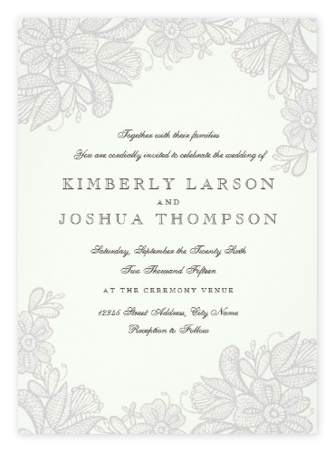 Floral Lace Vintage Grey Wedding Invitations from Zazzle
