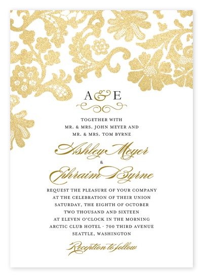 Elegant Gold Lace Wedding Invitations from Wedding Paper Divas