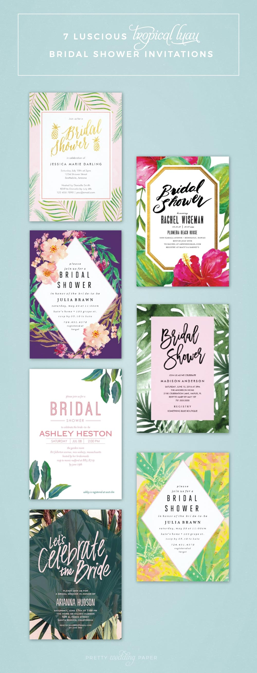 Gorgeous bridal shower invitations for a tropical bridal shower or bridal shower luau party. Pretty, feminine designs in pink, green and gold with pineapple decorations and palm tree leaves!