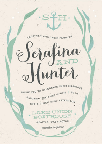 Whimsical Kelp Nautical Wedding Invitations with Monogram Anchor