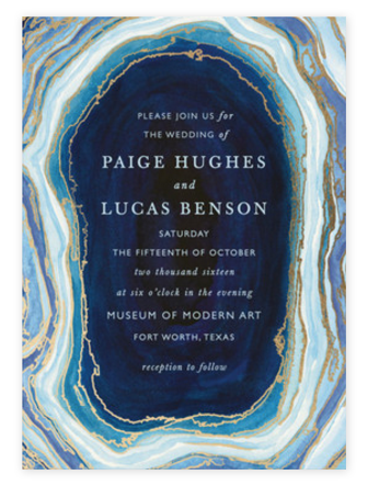 Gold Foil + Blue Agate Wedding Invitations from Minted