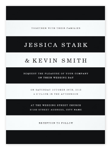 Chic Black & White Striped Wedding Invitations from Zazzle