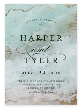 Foil-pressed agate natural wedding invitations from Minted