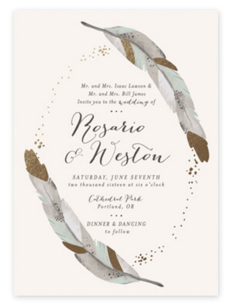 Gold Dipped Feathers Wedding Invitations from Minted