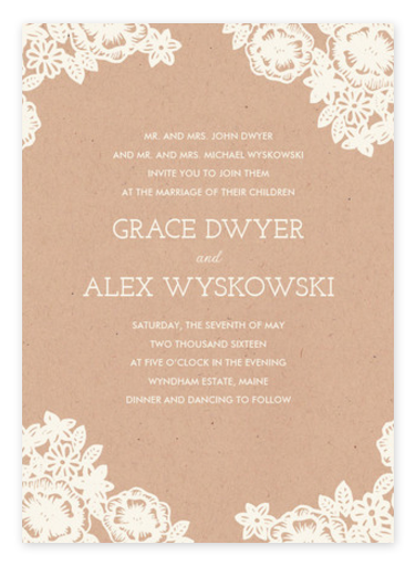 Kraft + Lace Rustic Wedding Invitations from Minted