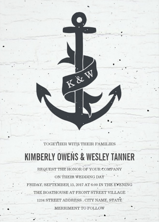 Rustic Anchor Nautical Wedding Invitations