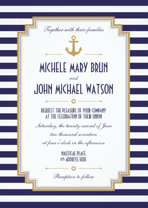 Navy & Gold Striped Nautical Wedding Invitations