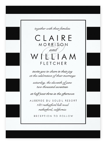 Simple Classic Black & White Striped Wedding Invitations from Zazzle