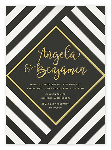 Stylish Striped Black & Gold Wedding Invitations from Etsy