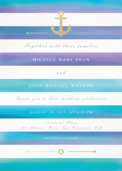 Striped Blue Watercolor and Gold Nautical Wedding Invitations