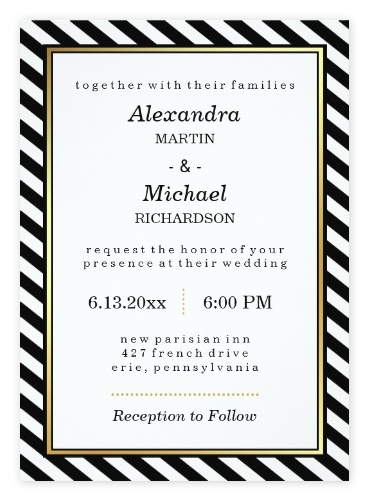 Stylish Gold, Black & White Wedding Invitations from Zazzle