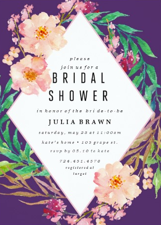 Tropical Floral Wreath Bridal Shower Invitations from Zazzle